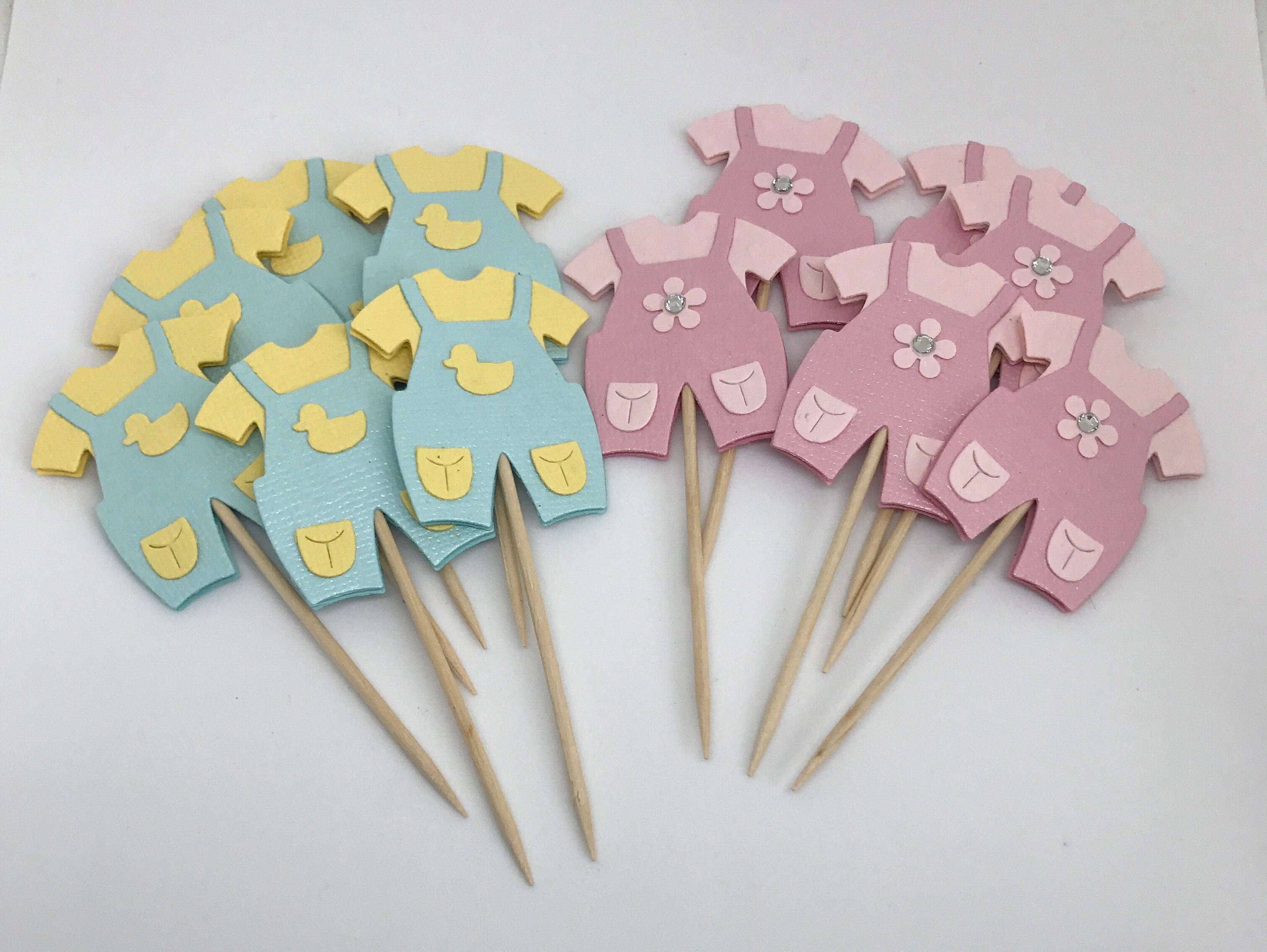 Baby cupcake toppers baby shower cupcake toppers christening for Baby shower cupcake picks decoration