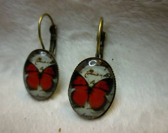 Earrings red Butterfly