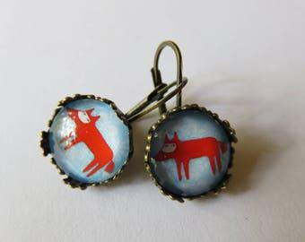 Earrings lace little Red Fox