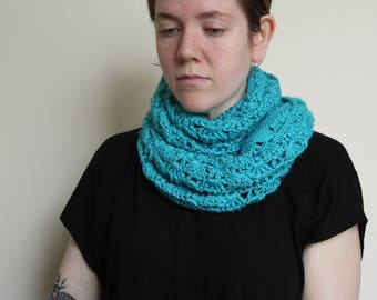 Crochet Cowl in Mint Blue, Made Long for Added Warmth