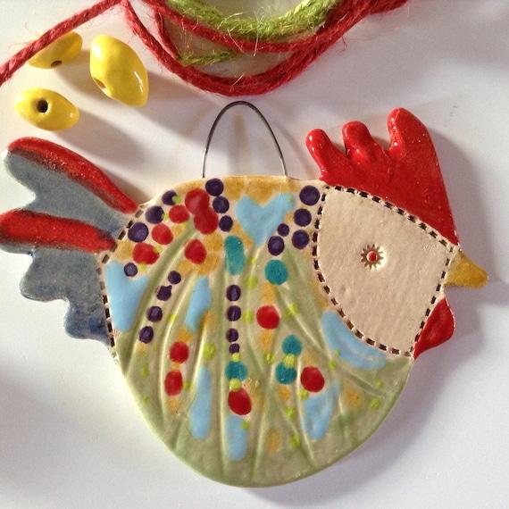 Ceramic Hanging Hen, cottage garden pattern, handmade, Chicken, Kitchen decor, bright and cheerful, nice little gift, unique