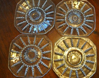 Set of 4 Vintage 1930s  Federal Glass Saucers Columbia Pattern. 6 in.