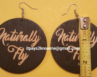 Naturally fly wooden earrings for natural hair