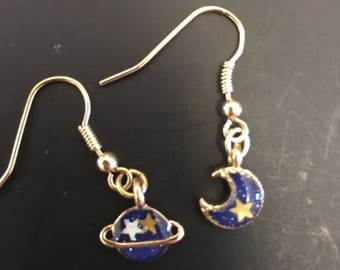 Cute fantasy planet moon & planet cosmo universe dangle earrigs