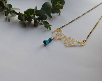 geometric handmade blue tassel necklace