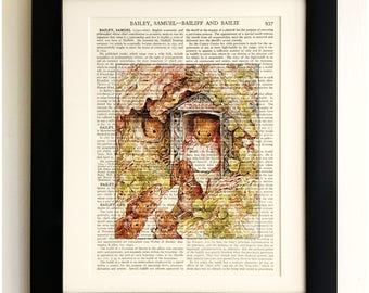 FRAMED ART PRINT on old antique book page - Beatrix Potter, The Tale of Mrs Tittlemouse, Vintage Wall Art Print Encyclopaedia Dictionary