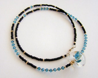 Wailea Necklace, Turquoise Lampwork Glass Bead Necklace, Teal Swarovski Crystal Necklace, Teal Yellow Black Glass Long Beaded Necklace