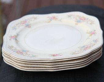 6 Homer Laughlin Eggshell Georgian Salad Plates vintage collectible china  Made in USA 1950s