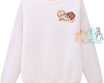 Jikook chibi // BTS Jimin and Jungkook Crewneck Sweatshirt (Design by Yeooongi)