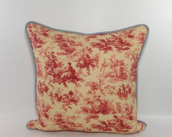 Red toile pillow cover Blue toile pillow cover Toile pillow 20x20 Red toile pillow Waverly red toile pillow cover Red toile pillow 18x18