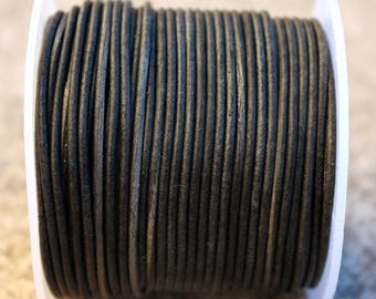 Vintage black round leather cord 2 mm O by 1 m cord