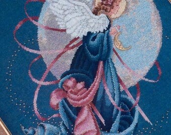 Blue Moon Angel Cross Stitch Pattern Lavender & Lace Victorian Designs