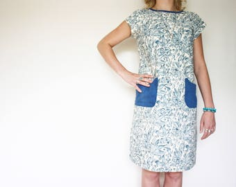 Florence Blue Shift Dress with contrasting large patch pockets