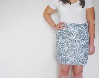 The Lola skirt. Handmade from blue floral vintage fabric, high waisted, with back zip. Made by Mosie & Furl