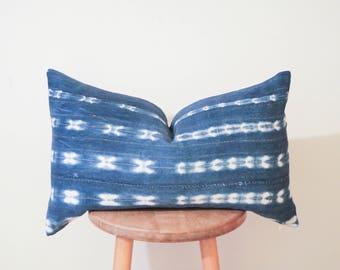 African Vintage Indigo Mudcloth Pillow Cover - Lumbar