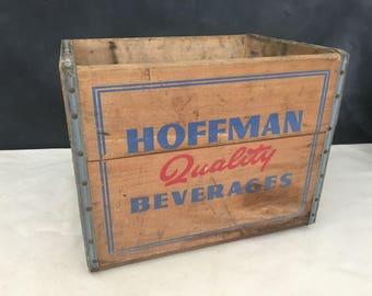 Hoffman Wood Beverage Crate - Vintage Soda Crate - Wooden Crate - Wood Crate - Bin - Storage - Prop - Display