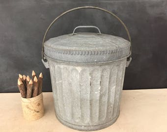 wheeling small trash can vintage wheeling galvanized bucket pail with lid garbage can