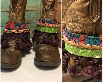 Little Girl Boot jewelry , boot chain, boot bracelet, boot bling, boot wrap.  Pair (2)
