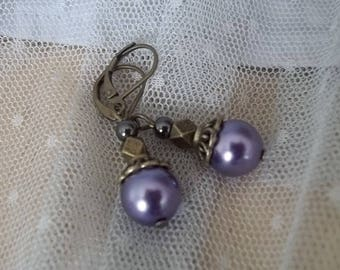 Bronze PE34 - Earrings and Pearly glass bead