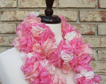 Peach pink and white ruffle scarf