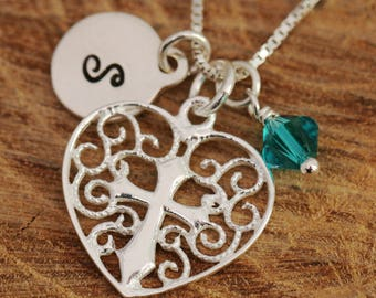Sterling Silver Filigree Heart Necklace|Silver Heart Necklace|Crusade Heart Necklace|Cross Necklace|Initial Necklace|Birthstone Necklace