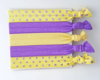 Set of 5 Yellow and Purple Elastic Hair Ties - Girl's Hair Ties - Yoga Hair Ties - No Crease Hair Ties - FOE Hair Ties - Gift for a girl