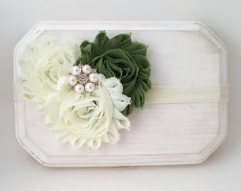 Sage Green and Ivory Fall Headband,Ivory Bridal Headband,Flower Girl Headband,Ivory Hair Bow,Newborn Photo Prop,Green Headband,Autumn Bows