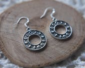 Lunar Moon Phrase Silver Earrings