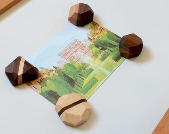 Geometric Wooden Magnets -- FREE SHIPPING -- Unique Refrigerator Decoration