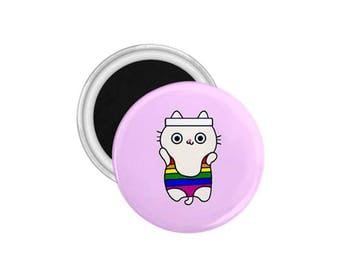 Gay Pride-Pride Pin-LGBT-Pride Pinback Button-Rainbow Pride-Cat Pin-Gay Pin