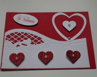 Valentine's day red and white heart card
