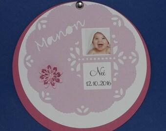 Scalloped circle frame birth announcement