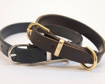 Leather dog collar hand stitched brass nickel plated fittings