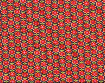 """Tissu coton """"vintage""""  Fleurs stylisées orangées sur fond bleu roi"""
