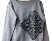 SALE !! Sacred Geometry Flower Mandala Pattern Tattoo Design Ladies Relaxed Slouch Oversized Fit Festival Jumper Sweater Top