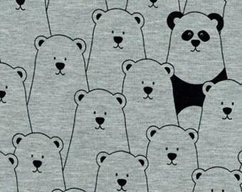 Panda's Bear Cotton Mix Jersey Stretch Fabric **Baby Nursery Children**