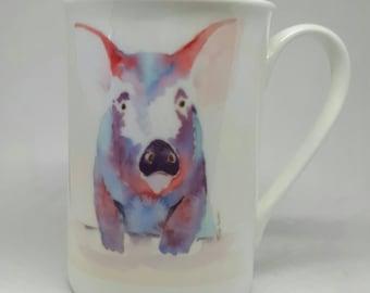 Pigs on mugs coffee mugs China mug. Pig art watercolour pigs mugs with pigs on. Colourful coffee mugs animals on mugs farm animals