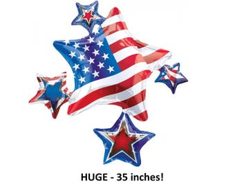 American flag stars balloon, 4th of July decorations, fourth, Independence Day, stars and stripes, Americana, patriotic party supplies