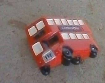 Vintage Double Decker London Bus Magnet, Thick Resin