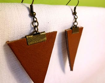 Earrings big brown genuine leather triangles