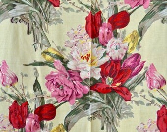 Vintage 40s Curtains // 1940s Tulips and Roses Print Yellow Linen Curtains // 4 Panels