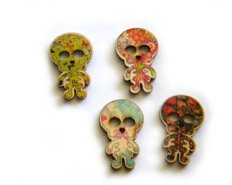 10 Painted Wooden Skeleton Buttons