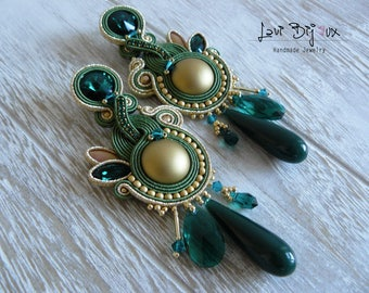 Green Soutache Earrings, Handmade Earrings, Hand Embroidered, Soutache Jewelry, Handmade from Italy, OOAK