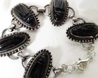 Silver and Onyx Bracelet,  Bracelet For Her, Tribal Mask Bracelet, Carved Onyx Bracelet, Exotic Bracelet , Statement Piece,  Vintage Jewelry