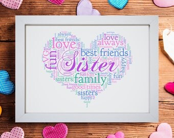 Personalised Love Heart Sister Family Framed Word Art Cloud Birthday Gift