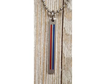 Thin Red and Blue Line Pendent w/ 24 inch 2.7mm ball chain  :  Engraved & Polished Pendent (not hand stamped)