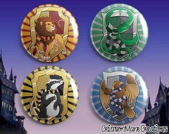 Harry Potter Hogwarts House Crest Badge Set