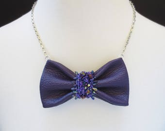 bow tie, clothing gift , colorful bow tie, purple necklace, unique leather bow tie, women bow tie