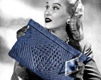 Handbag Purse - 1940s Vintage Crochet Pattern Digitally Restored PDF - Suit Strategy Bag - Instant Download