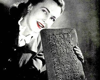 Handbag Purse - 1940s Vintage Crochet Pattern Digitally Restored PDF - Rectangle Bag - Instant Download